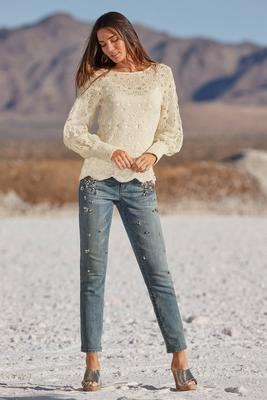 Pale Stone Embellished Ankle Jean