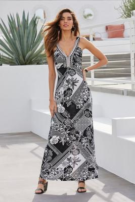 Beaded Neckline Printed Maxi Dress