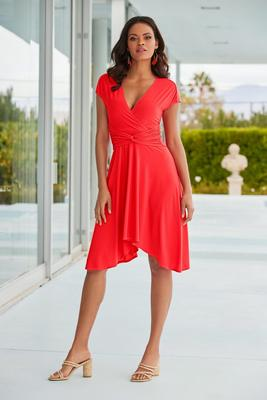 Cap-Sleeve Knot-Front Dress