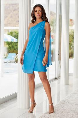 Chiffon Draped One-Shoulder Shift Dress
