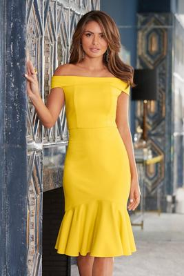 Off-The-Shoulder Ruffle-Hem Dress