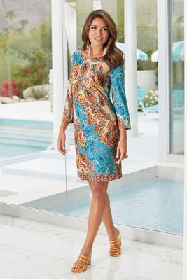 Paisley Border Shift Dress
