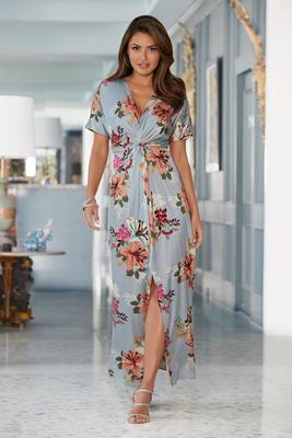 Sequin Lilies Knot Maxi Dress