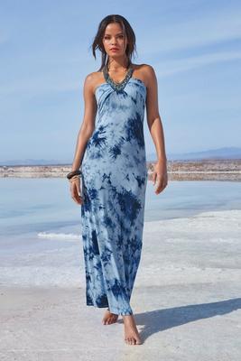 Beaded Neckline Tie-Dye Maxi Dress