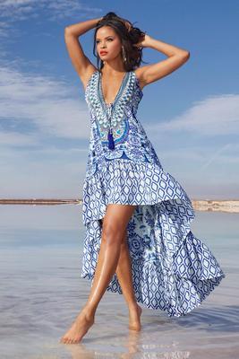Tile Print Embellished High-Low Maxi Dress