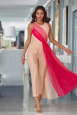 tulle overlay ombré jumpsuit