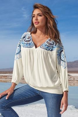 Embroidered Lace Blouson Top
