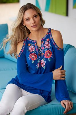 Embroidered Lace-Up Front Cold-Shoulder Long-Sleeve Top