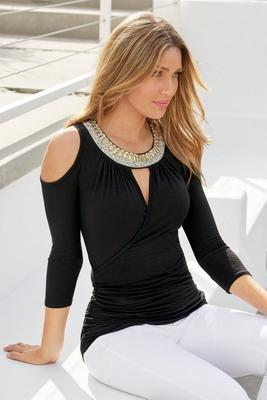 Jeweled Neckline Surplice Cold-Shoulder Top