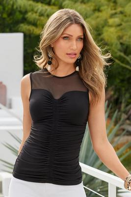 Ruched Front Mesh-Neckline Tank Top
