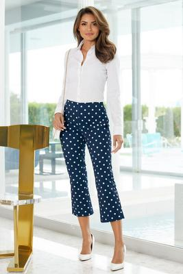 polka dot everyday twill side-zip crop flare pant