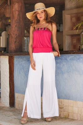 Button Side-Slit Linen Pant