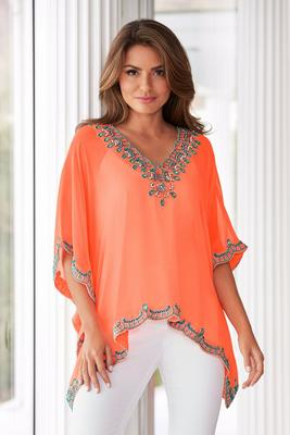Embellished V-Neck Poncho
