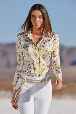 Floral Chain Button-Down Shirt