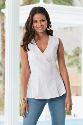 Sleeveless Peplum Poplin Shirt