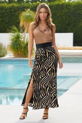 zebra-print ruched maxi skirt