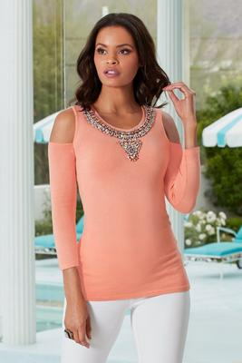 Embellished Neck Cold-Shoulder Sweater