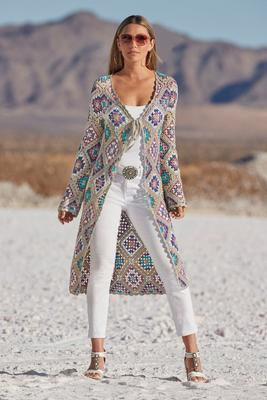 multicolor lurex crochet sweater duster