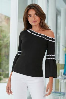 Piped One-Shoulder Sweater