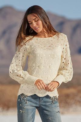 scalloped crochet sweater