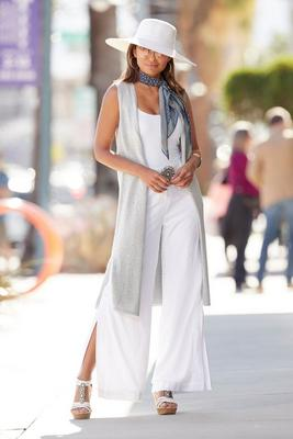 shimmer sleeveless sweater duster