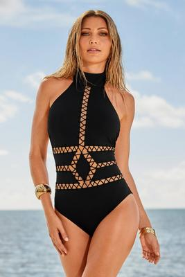 Display product reviews for High-Neck Laser-Cut One-Piece Swimsuit