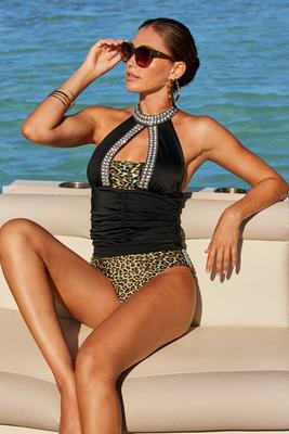 Jeweled Animal-Print Two-Piece Tankini Swimsuit