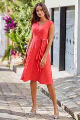 Sleeveless Crew-Neck Fit-and-Flare Dress