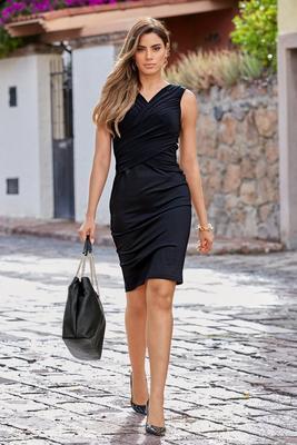 Display product reviews for Black Draped Sleeveless Sheath Dress