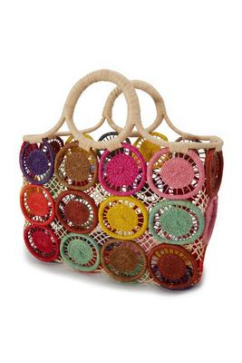 Multicolor Woven Medallion Tote Bag