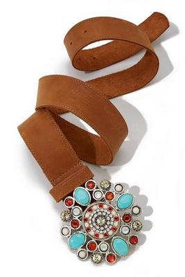 turquoise embellished stone buckle belt