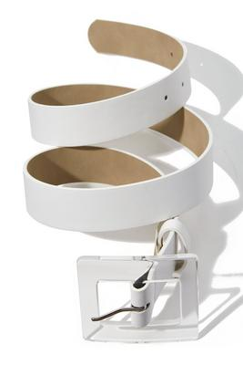 classic clear buckle fashion belt