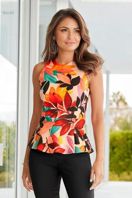 Display product reviews for Floral-Print Peplum Scuba Tank Top