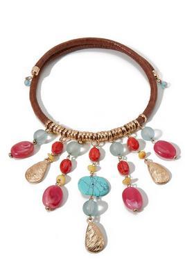 Multi Beaded Dangle Choker Necklace
