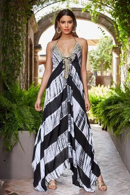 Embellished Tie-Dye High-Low Maxi Dress