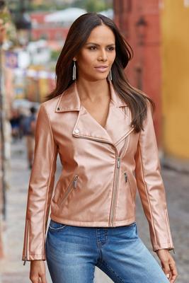 Rose Metallic Moto Jacket