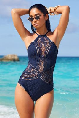 Display product reviews for High-Neck Illusion Crochet One-Piece Swimsuit