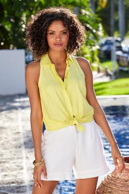 linen collared sleeveless top