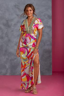 Abstract Print Embellished Maxi Dress