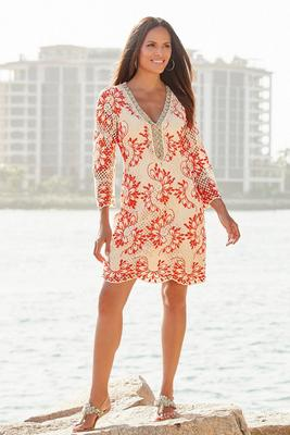 Crochet Embellished Tunic Dress