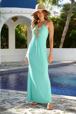 embellished neckline knit maxi dress
