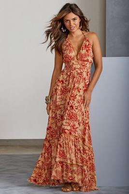 Floral Boho Gold Shimmer Maxi Dress