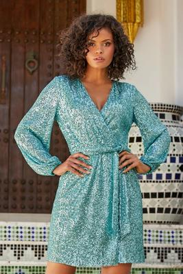 Long-Sleeve Sequin Dress