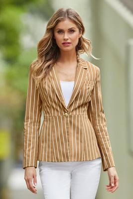 Stripe Cotton Sateen Blazer
