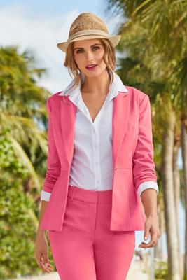 Single-Button Cotton Sateen Jacket