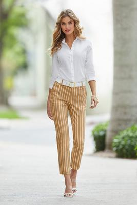 Stripe Cotton Sateen Crop Pant