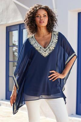 seashell-embellished poncho blouse