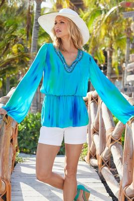 Beaded Tie Dye Tunic Top
