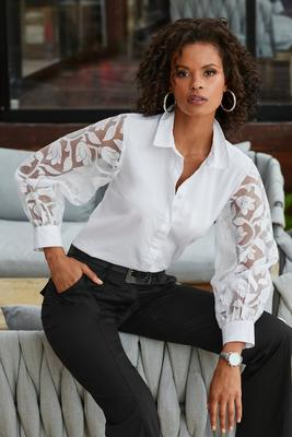 Display product reviews for Illusion Embroidered Sleeve Shirt