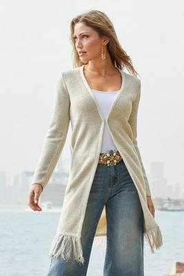 Fringe Long-Sleeve Duster Cardigan